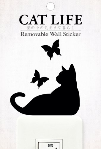 CAT LIFE 猫シリーズ 蝶 パッケージサイズW100×H148mm 本体黒色 TC生地 アクリル 紙 WS-CAT-02