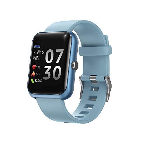 Reloj inteligente, reloj inteligente de pantalla táctil de 1.3 pulgadas, rastreador de fitness con monitor de ritmo cardíaco, IP68 resistente al agua con monitor de sueño, para iPhone Android (azul)