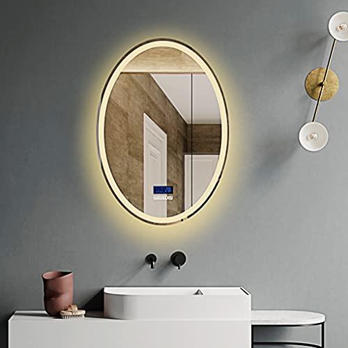 Espejo de baño ovalado, espejo de pared redondo con luz LED, espejo a prueba de explosiones, impermeable y desempañado,multifunción de seis teclas. (luz de tres colores, 60* 80CM)