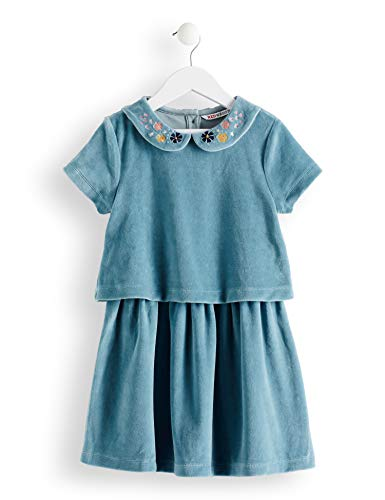 Amazon-Marke: RED WAGON Mädchen Samt-Kleid mit besticktem Kragen, Blau (Eggshell Blue), 140, Label:10 Years