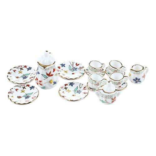 ACAMPTAR 15 Piezas en Miniatura de Comedor casa de munecas de Porcelana vajilla Juego de te vajilla Placa Copa Impresion Floral Colorida