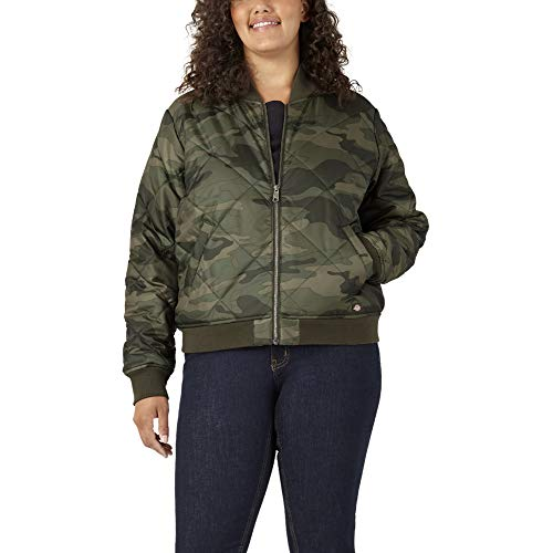 Dickies Women's Plus Size Quilted Bomber Jacket, Sage Green Urban Camo, 2PS