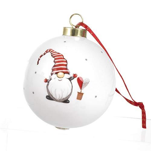 Paben Noèl Palla Sfera Natalizia Gnomo in Ceramica Smaltata Decorazione Natale