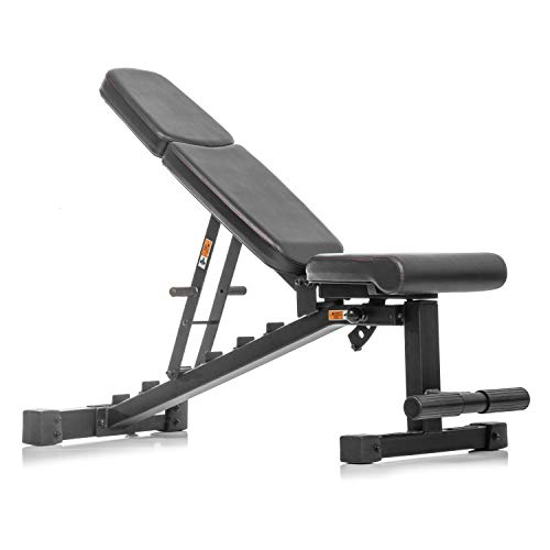 XMark Power Series Adjustable Flat Incline Decline Bench, 1500 lb. Wgt Capacity, 7 Back Pad Positions From Decline at -20 degrees To Incline of 85 degrees, 3 Ergonomical Seat Pad Positions (BLACK)