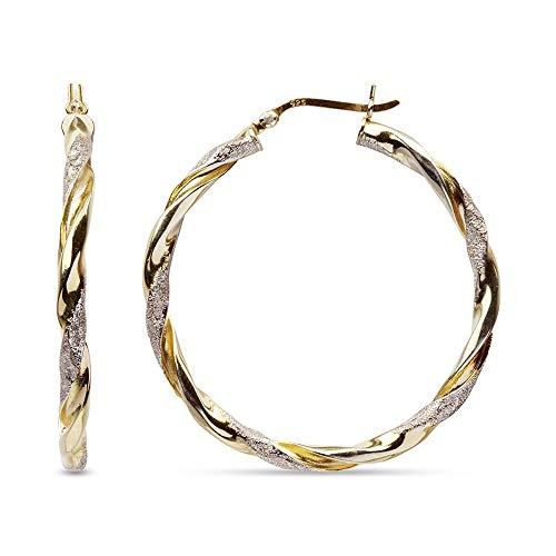 LeCalla Sterling Silver Jewelry Two Tone Light-Weight Italian Design Hoop Earrings for Women 40