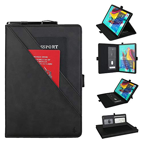 YANCAI Case Cover Horizontal Flip Double Bracket Leather Case for Galaxy Tab S 5E 10.5 / T720 / T725, with Card Slots & Photo Frame & Pen Slot (Color : Black)