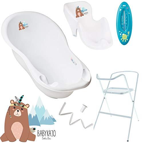 Baby Badewanne mit Gestell und Badewannensitz - Verschiedene Sets für Neugeborene mit Babybadewannen + Ständer +Abfluss + Badewannensitz - Babywanne mit Ständer
