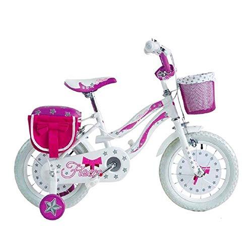 """Bici Bimba Bicicletta per Bambina 12"""" - 14"""" - 16"""" Fiocco con Rotelle Cestino Porta Pacchi Borse Laterali (16"""")"""