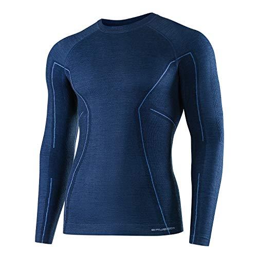 BRUBECK Homme Maillot de Corps Fonctionnel | Manches Longues | Respirant | Thermo | Sport | sous-vêtement | 41% Laine Mérinos | LS12820 M Bleu Marine