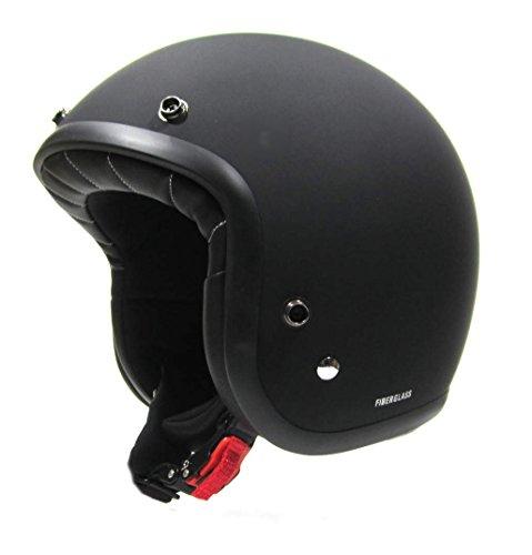 Pro-Ject Casque de moto jet noir en fibre pour homme ou femme homologué ECE 22.05 E3 (S1-55 cm)
