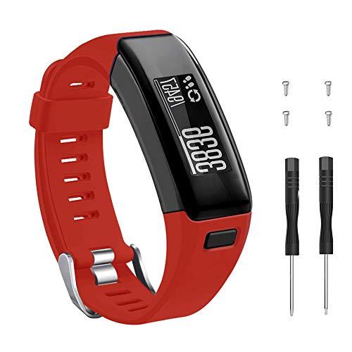 METEQI Correa Compatible con Garmin Vivosmart HR, Accesorios Correa de Reloj de Silicona Suave Ajustable Reemplazo diseñado para Garmin Vivosmart HR (Rojo)