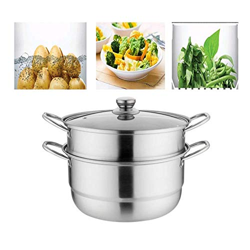 2 in 1 Stainless Steel Steamer, Double-layer Steam Boil Soup Pot with Visible Lid Dual-use Cookware for Kitchen 26/28/30CM