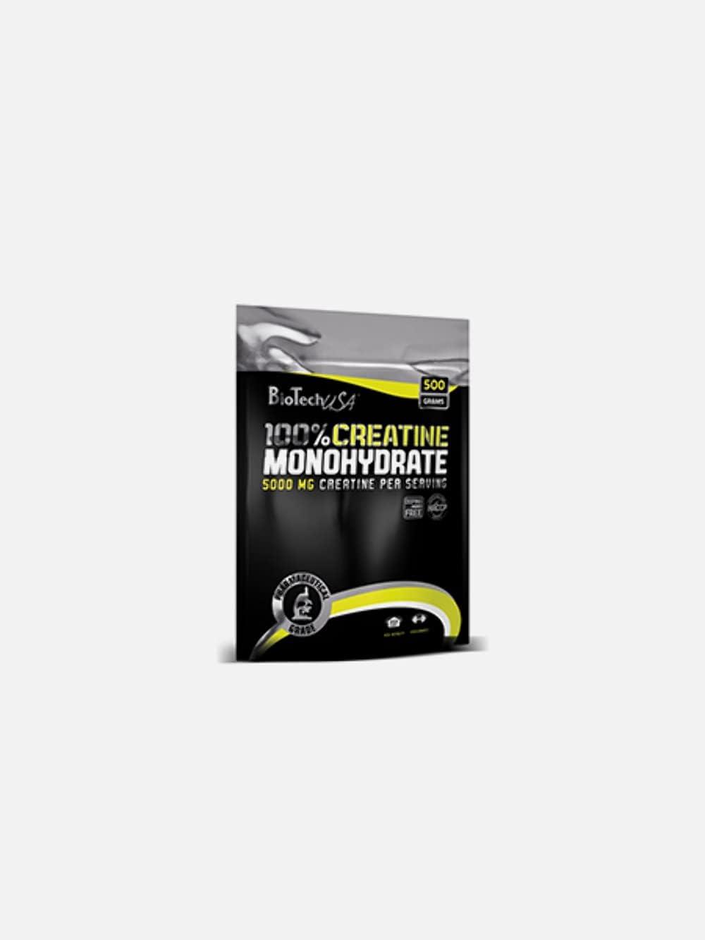 BioTechUSA 100% Creatine Monohydrate Complemento alimenticio en polvo sin sabor a base de monohidrato de creatina micronizado, 500 g Bolsa