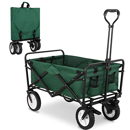 FIXKIT Collapsible Folding Outdoor Utility Wagon, Heavy Duty Garden Cart with Carrying Bag, Wheel Brakes and 2 Cup Holders (Green)