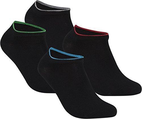 gigando | Edge Bambus-Sneaker-Socken für Damen und Herren | schwarz mit buntem Farbring | extra feines Maschenbild | handgekettelt | Bambus Viskose Stoff | 4 Paar | rot, grün, blau, silber |