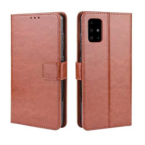 Happy-L Caso Samsung Galaxy A71, Caja del teléfono con Soporte de Tarjeta, Flip magnético, función de Soporte, Cubierta Protectora a Prueba de Golpes (Color : Brown)