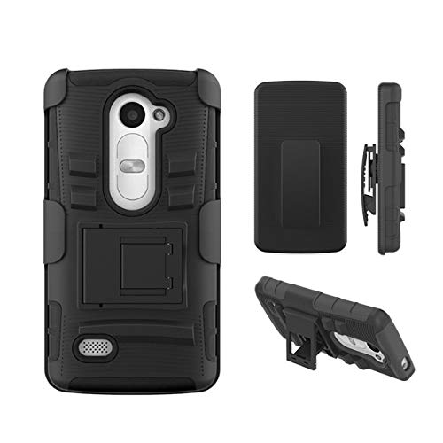 Customerfirst - For LG Leon LTE / Power L22C (TracFone / NET10) / Destiny L21G (StraightTalk) Case, Dual Layer Armor Protector Slim Hybrid Armor Case for For LG Leon LTE Case / LG Power L22C (Straight Talk / METRO PCS / T-MOBILE / TracFone) - Free Flash Light Key Chain (ASYMNA BLACK)