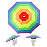 Hileyu Sombrero de Paraguas Gorros de Paraguas para Adultos con Bandas elásticas Paraguas Cabeza Color Arcoiris para el Sol y la Lluvia Sombrero Sombrero de Paraguas de Pesca