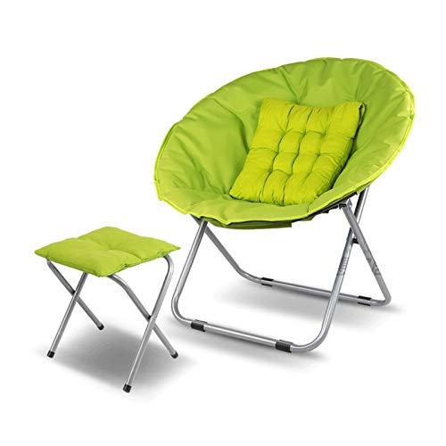 KKLL Silla de Ocio Moon Chair Sillón reclinable Plegable Silla Perezosa balcón Almuerzo sofá Tomando el Sol (Color : Green)