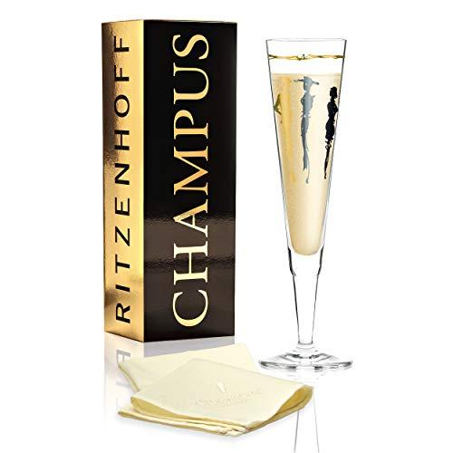 RITZENHOFF Champus champagneglas van Esser'Design (Vernissage), van kristalglas, 200 ml, met edele goud- en platina-aandeelen, incl. stoffen servet