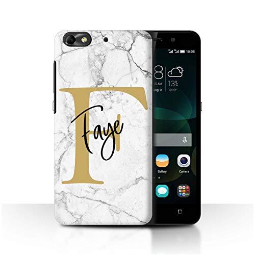 Stuff4® Personalisiert Individuell Marmor Handschrift Initialen Hülle für Huawei G Play Mini/Weiß Gold Buchstabe Design/Initiale/Name/Text Schutzhülle/Case/Etui