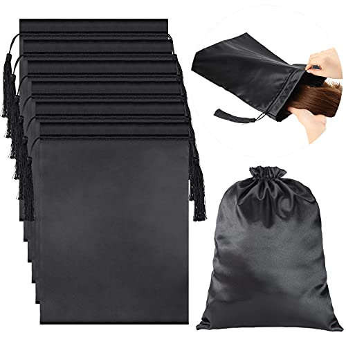 6 Pieces Satin Wig Bags Soft Silky Pouches with Drawstring Tassel Packaging Hair Extensions, Bundles, Wigs Bags Hair Tools Storage Bags for Home and Salon Use (Solid Black Series)