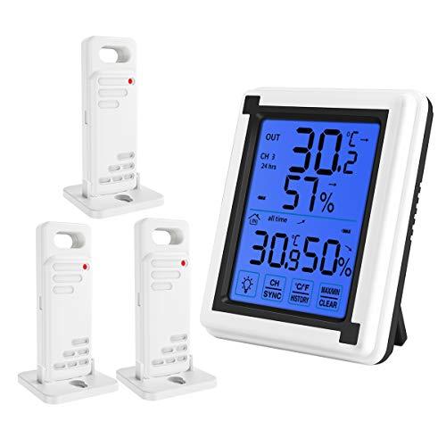 最新版 デジタル温湿度計 外気温度計 ワイヤレス 温度湿度計 室内 室外 三つセンサー 高精度 LCD大画面 バックライト機能付き 最高最低温湿度表示 置き掛け両用タイプ マグネット付(3つセンサー)