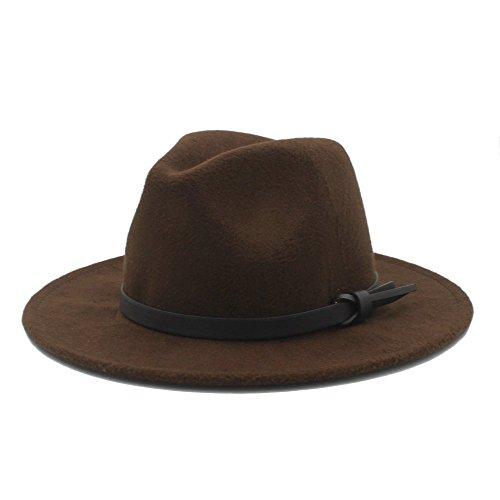 Ericcay Sombrero De Los Hombres De con Moda La De Los Estilo único Hombres Colores Sólidos Sombrero del Invierno De Panamá con La Correa De Cuero Sombrero De Panamá Gorra De Visera