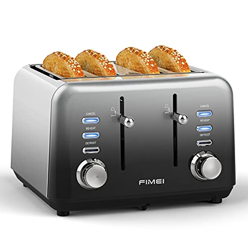 FIMEI Toaster 4 Slice, Extra Wide Slot Stainless Steel Toaster, Automatic Toaster, 7 Browning...