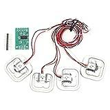Fafeicy Modulo HX711 + 4 Pezzi 50Kg Personali Set di Sensori di Ponderazione Estensimetri a Semiponte, 34 * 34mm