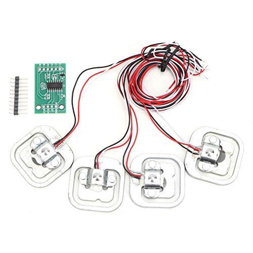 Regalo de Julio Conjunto de células de carga, módulo HX711 + 4 piezas Conjunto de sensores de peso de medidor de deformación de medio puente, 50 kg, personales