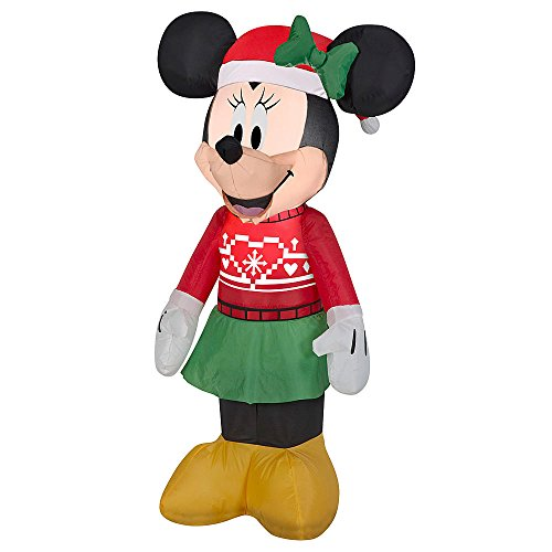 Gemmy 3.5' Airblown Minnie in Ugly Sweater Disney Christmas Inflatable