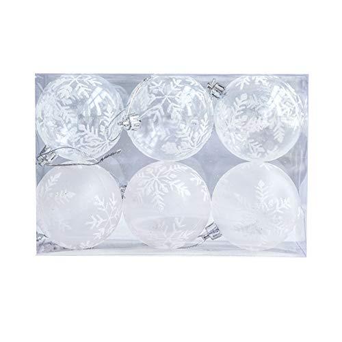 SWQG-Sartén Transparente Copo De Nieve Set De Decoración De Bolas De Navidad Artilugios De Plástico De Árbol De Navidad Reutilizable 6 Piezas A-Bolas de Navidad (Size : A-7.5CM Transparent)