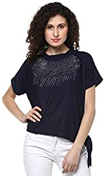 Triumphin Blue Sweet Women Cut Shoulder Girls Boat Neck/Off Shoulder/Cut Shoulder Embroidered Cotton Top for Daily wear Stylish Casual and Western Wear Women/Girls Tops
