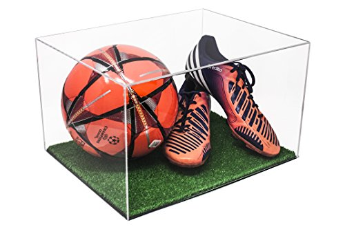 Better Display Cases Versatile Clear Acrylic Display Case - Large Rectangle Box with Turf Base 15.25' x 12' x 9' (A025-CTB)