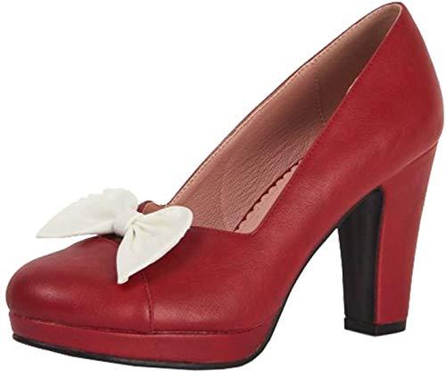 Lulu Hun Damen Schuhe Betty Schleife 50s High Heels Pumps Rot Geschlossen 40