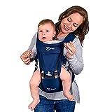 AT Allure-T Babybauchtrage, ergonomische Babytrage Rückentrage, Tragesystem für Säugling und Kleinkind, Baby Carrier mit Hüftsitz, 7 Tragepositionen (Farbe Blau)