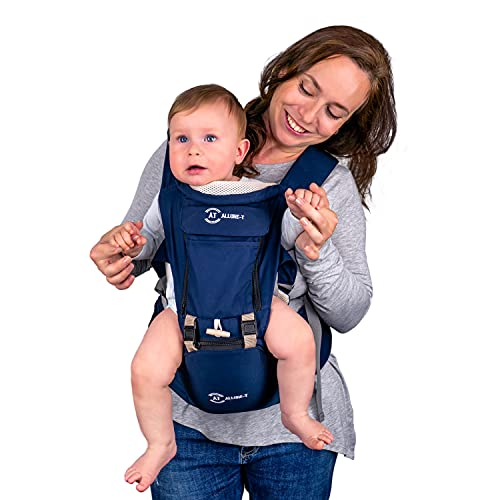 AT Allure-T ergonomische Babytrage Rücken, Bauchtrage, Baby Trage für Säugling und Kleinkind, Baby Carrier mit Hüftsitz, 7 Tragepositionen (Farbe Blau)