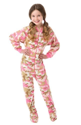 Big Feet Pjs Big Girls Pink Camo Kids Onesie Footed Pajamas (M)
