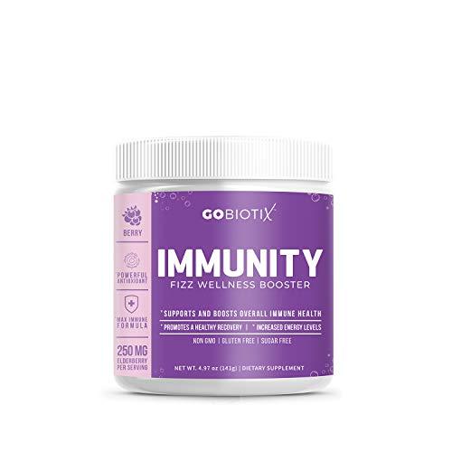 GoBiotix Immunity Fizz Wellness – Vegan Antioxidant Immunity Powder | Organic Super-Food Extract | Elderberry, Turmeric, Vitamin C, D, B12 ● Non-GMO, Free of Soy, Gluten & Sugar (Berry)