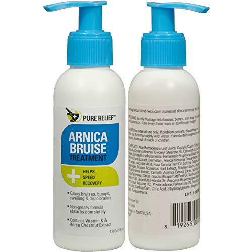 Pure Relief Arnica Bruise Lotion. Rapid Relief for Bruising, Redness, and Discoloration. Powerful Bruise Lotion with Soothing Ingredients- Aloe Vera, Vitamin K, Collagen, and Gotu Kola. (4oz)