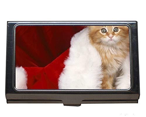 Visitenkartenetui, Nikolausmütze Katze Visitenkartenetui für Herren und Damen