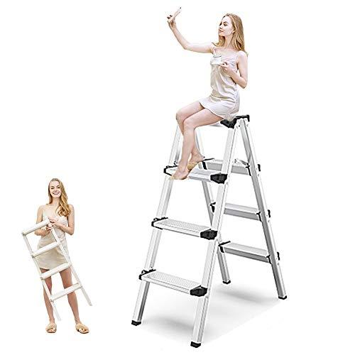 NCBH Escalera de Mano, Plegable 2 3 4 escalones Escalera de peldaño Escalera de Tijera, Tipo A para el hogar, Escalera para el hogar 150 kg de Carga, fácil de almacenar,Four Steps