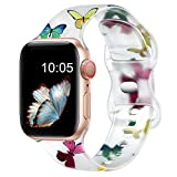 Witzon Cute Transparent Bands Compatible with Apple Watch Bands 38mm 40mm 42mm 44mm for Women Men, Soft Silicone Sport Strap Replacement Band for iWatch Series 7/6/5/4/3/2/1/SE, 38/40mm, Butterflies