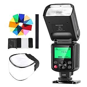Neewer 750II TTL Flash Speedlite con Difusor Duro, 12 Filtros de Color, Kit de Limpieza para Nikon D7200 D7100 D7000 D5500 D5300 D5200 D5100 D5000 D3200 y Otras Nikon Cámaras DSLR
