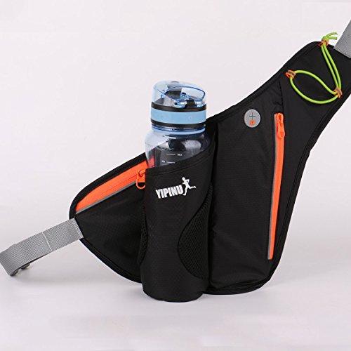 TieNew Ceinture de Course, Sac Banane de Sport Taille avec Porte-Bouteille Hydrofuge Bum Bag Sacs Banane Sport, Noir