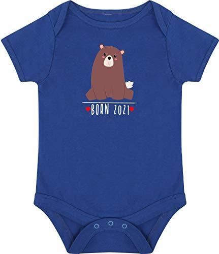Kleckerliese Baby Body Vintage Kurzarm Sprüche Jungen Mädchen Motiv Born 2021 Tiermotiv Tiere Bär, Royal, 12-18 Monate