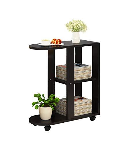WTT mobiele tafel van massief hout, bijzettafel, draagbaar, met katrol zwart/wit (kleur: B)