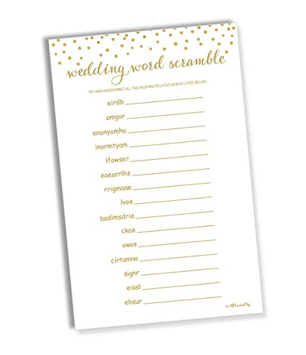 Wedding Word Scramble - Gold Confetti (50-Sheets) (Large Sheet Size)