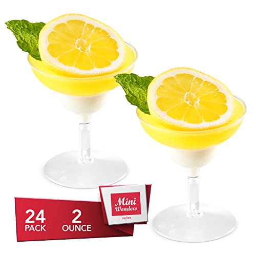 Dessert Cups – Mini Margarita Shape Clear Plastic Parfait Cups | 2 oz - 24 Pack | Mini Cups - Chocolate Cups for Desserts | Appetizer Cups | Shooter Glasses | Mini Plastic Cups [Mini Wonders]
